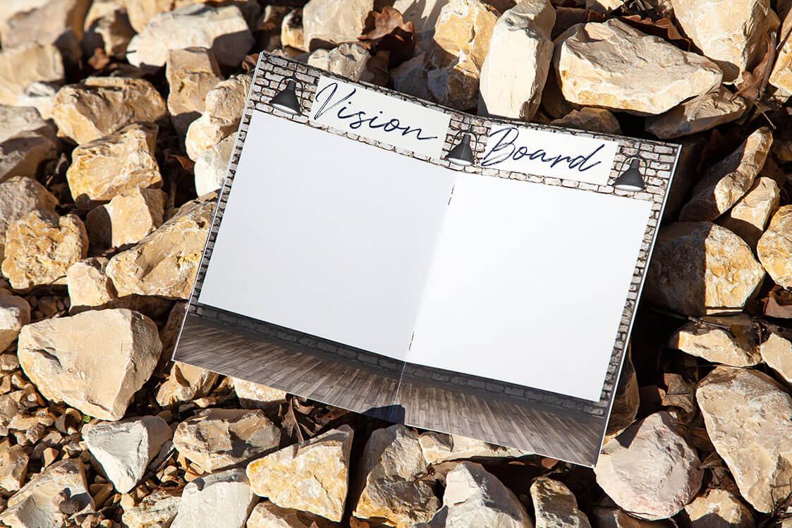 knowy-arbeitsbuch-vision board auf Steine